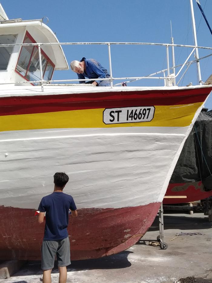 bateau en chantier peinture